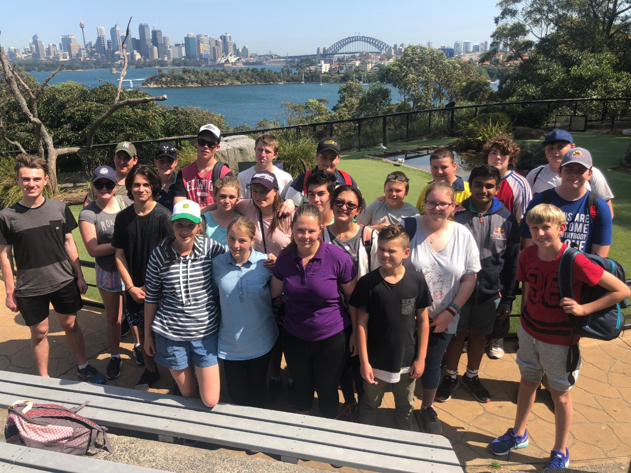 Tullamore and EBHS students at the Zoo with the Harbour Bridge in the background